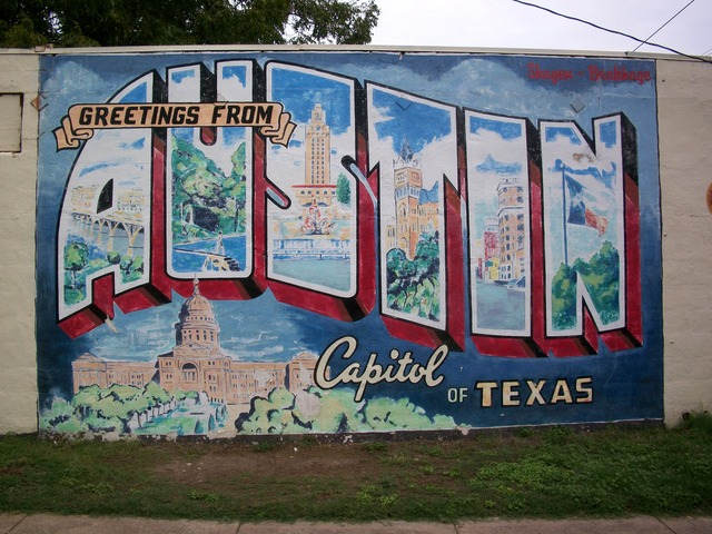 photo of mural - greetings from austin state capitol
