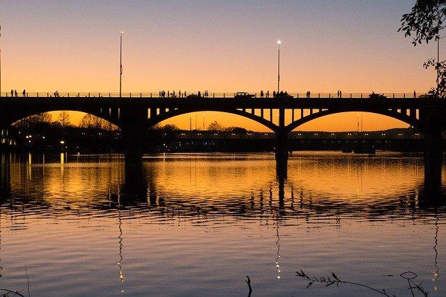 Lamar bridge from the water