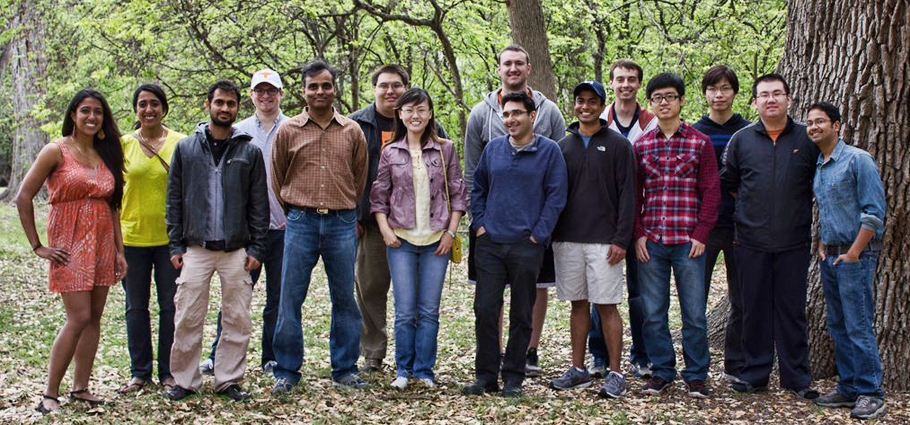 A group photo of some NASCENT Graduate students, faculty and staff BBQ social Spring 2013, hosted by NASCENT SLC with Dr. Sreenivasan