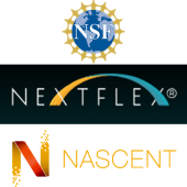 Logos for three organizations: NSF, NextFlex and NASCENT