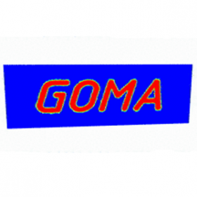 GOMA Logo - red letters on blue background